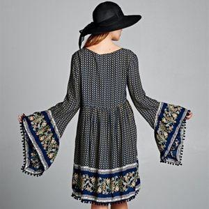 Tops - Bell Sleeve Gingham Tunic Dress